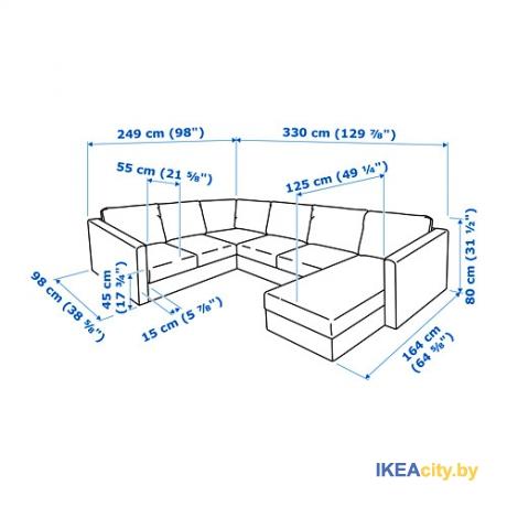 2219ef7b24e7 ИКЕА ВИМЛЕ - 5-местный угловой диван в Минске. Артикул  992.114.09 ...